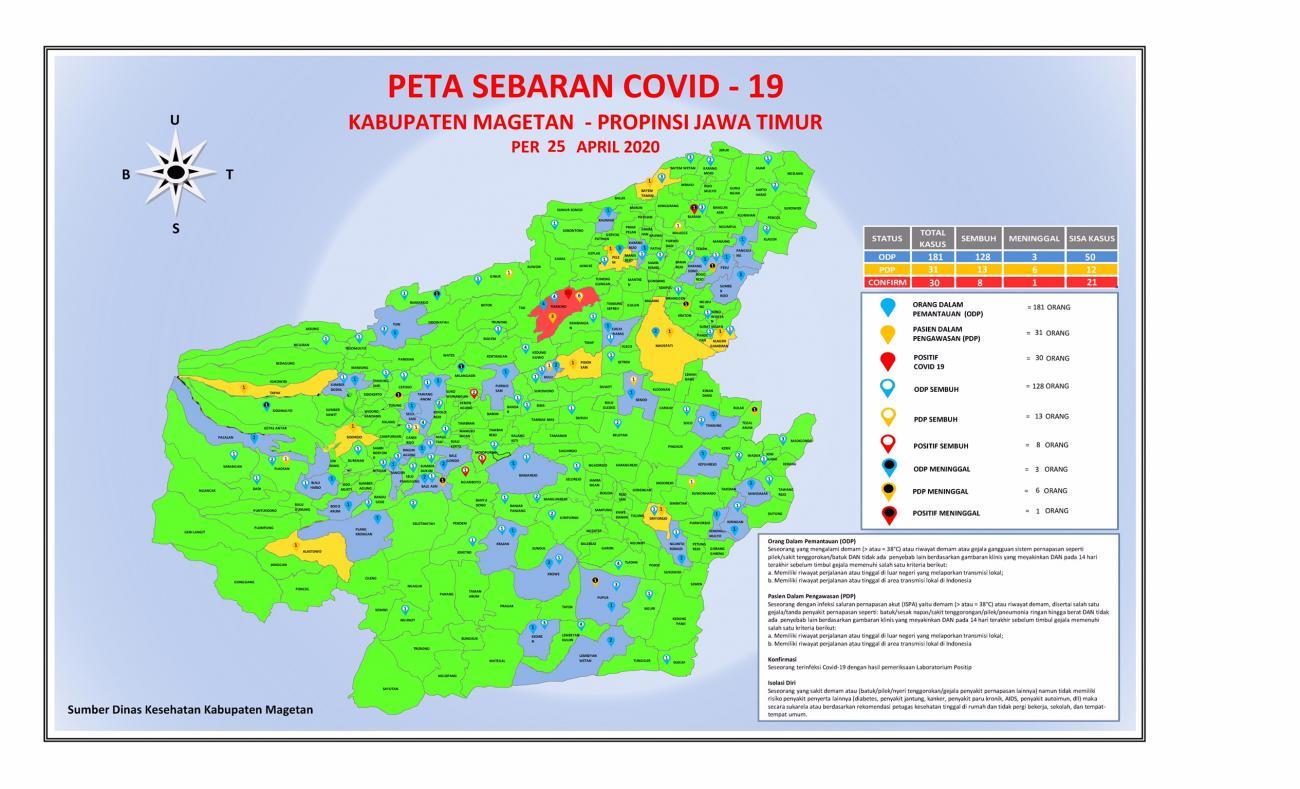 Peta Sebaran COVID-19 di Wilayah Kabupaten Magetan