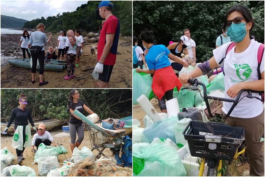 Bersinergi dengan beyond plastic, PRT Asing di HK bersih bersih pantai (Foto Fanspafe Facebook Beyon Plastic)