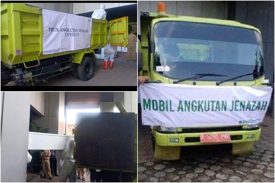 Antisipasi hal terburuk, Pemprov DKI Siapkan armada truk untuk mengangkut jenazah pasien positif corona (kolase foto Istimewa)