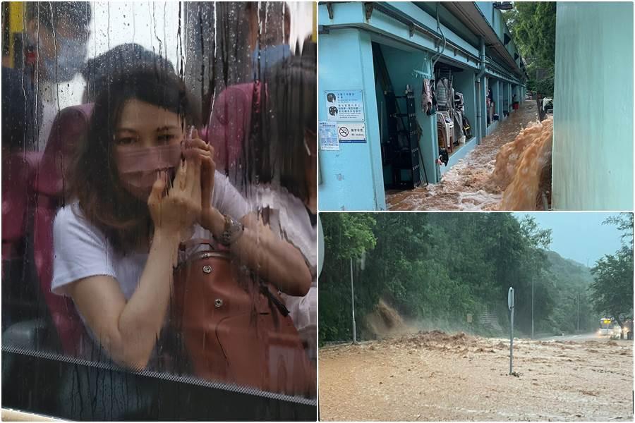 Kolase foto situasi Hong Kong dibawah cuaca buruk (Foto HK01)