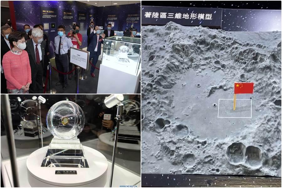 Sampel tanah dari bulan dipamerkan di Hong Kong (Foto Xinhua & CGTN)