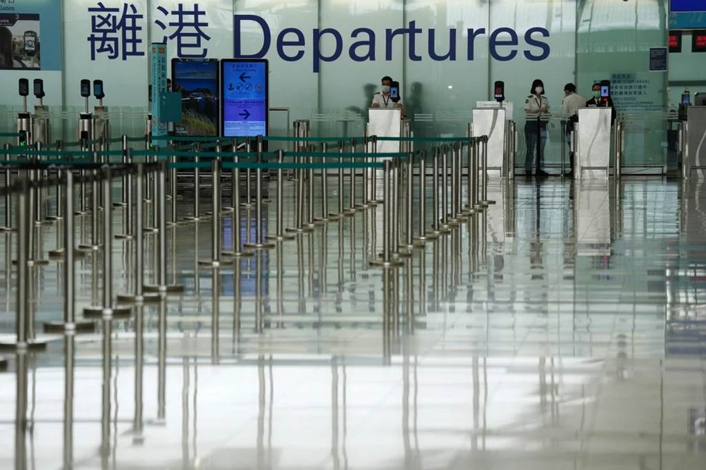 The departure hall at Hong Kong International Airport sits empty in late March. (Photo Sam Tsang - SCMP)