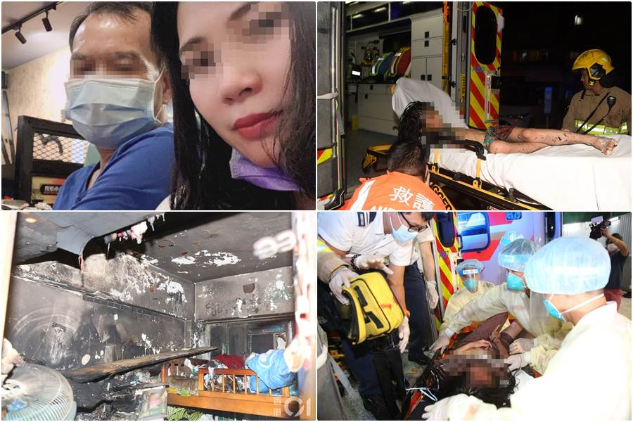 Kolase foto insiden kekerasan dan pembakaran flat menewaskan tiga nyawa (Foto HK01)