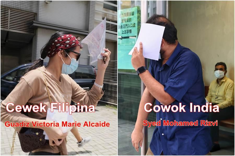 Pasangan kekasih India Filipina yang didakwa memalsukan keterangan terkait dengan riwayat penrajalan selama pandemi. (Foto HK01)