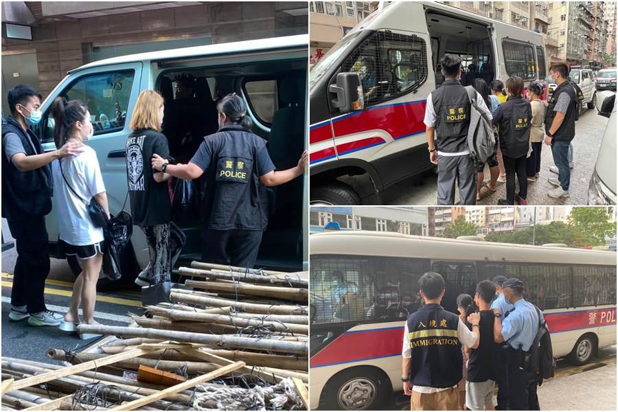 Penangkapan 33 orang dari operasi anti pekerja ilegal di kawasan Mong Kok Kowloon 15 Juli 2021 (Foto Istimewa)