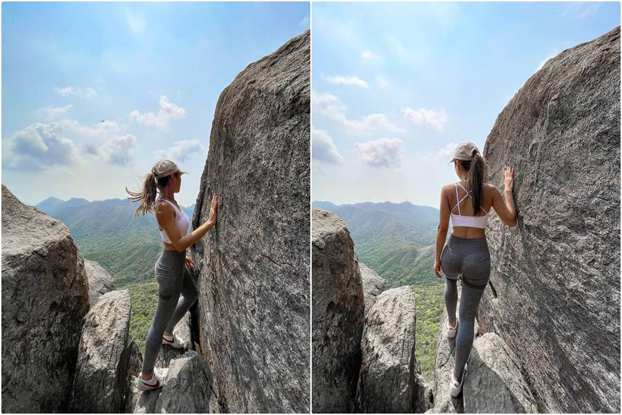 Sofia Cheung Sebelum jatuh dari tebing ( Foto Instagram Hike.Sofi)